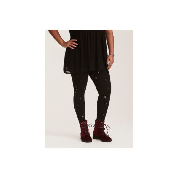 Torrid Metallic Starry Shine Leggings ($19) ❤ liked on Polyvore featuring pants, leggings, bottoms, plus size, printed leggings, purple, silver metallic leggings, shiny metallic leggings, plus size metallic leggings and high-waisted leggings