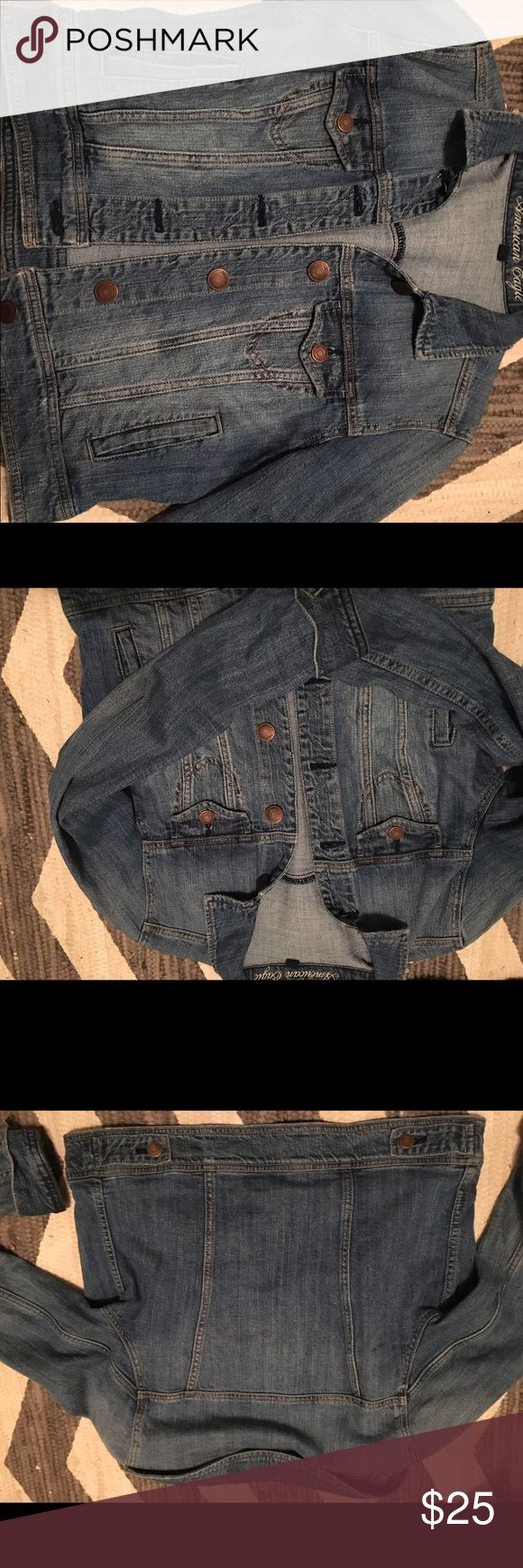 American eagle jean jacket American eagle jean jacket for sale! In good condition just don't wear it anymore! American Eagle Outfitters Jackets & Coats Jean Jackets