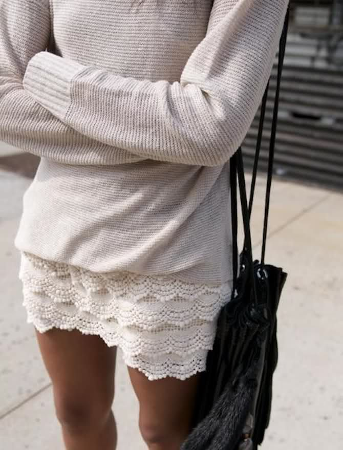 must find some shorts like this: Sweaters, Fashion, Style, Skirts, Clothes, Dress, Outfit, Lace Skirt, Lace Shorts