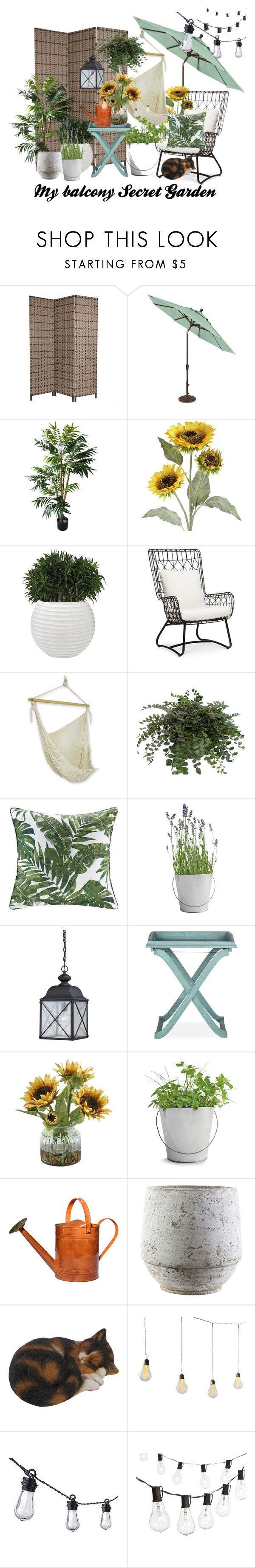 """Secret Garden"" by izostworekblogspot on Polyvore featuring interior, interiors, interior design, dom, home decor, interior decorating, TradeMark, Pier 1 Imports, Palecek i NOVICA"
