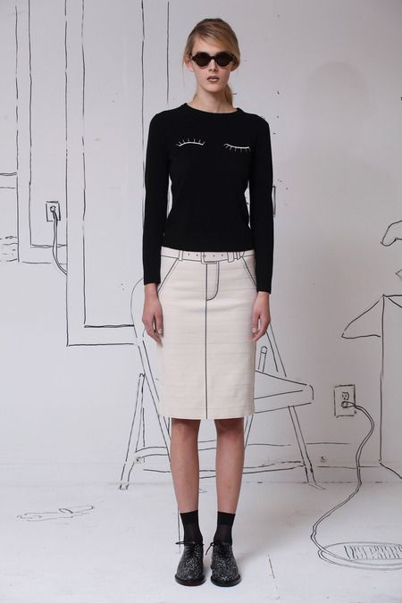 Adorably cheeky sketched on seams with a winky face top at Band of Outsiders. Speckled loafers finish the look.