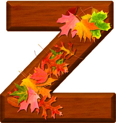 Presentation Alphabets: Cherry Wood Leaves Letter Z