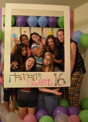 Hannah's Sweet 16 party. Used the Polaroid photo frame idea. Turned out great, Sarah Elizabeth Davis!