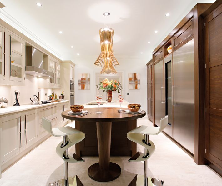Like The Contrast Between The Pale Painted Cabinets And The Walnut. Love  Those Stools! Bespoke KitchensLuxury ...