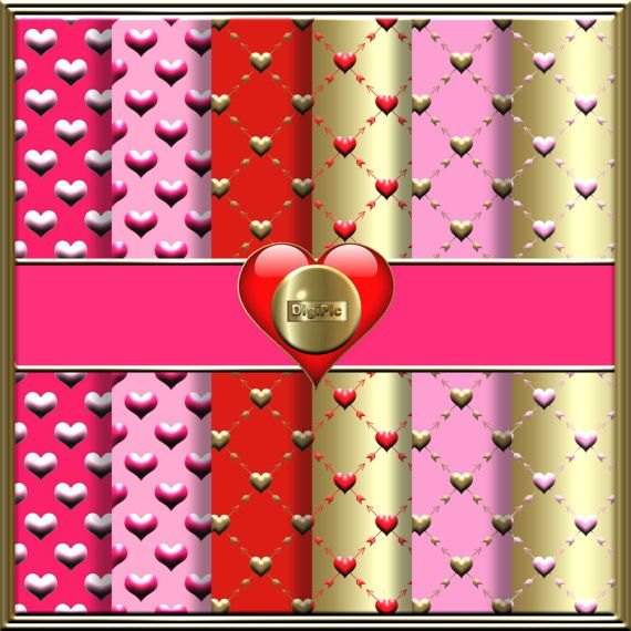 COMMERCIAL USE OK 6 Digital Valentine Heart Scrapbook by DigiPic1