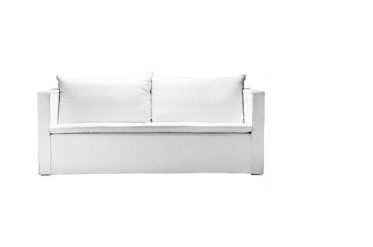 Sofal sofa med hvid cotton canvas betræk