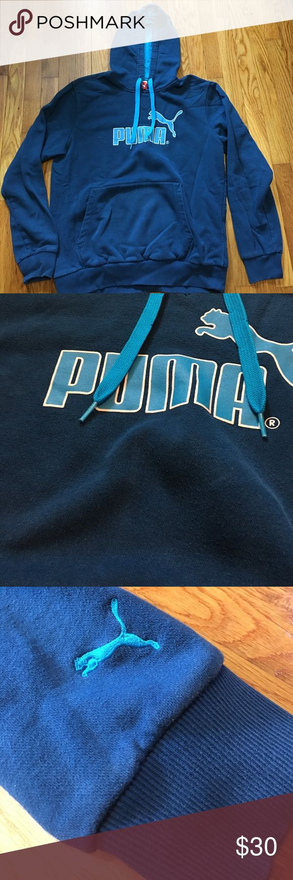 Puma blue men's hoodie Blue hoodie, see pictures, small, what I'm assuming to be, bleach stain above puma logo Puma Shirts Sweatshirts & Hoodies