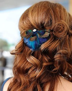 hairy possible wedding hair - with flower instead of peacock feather