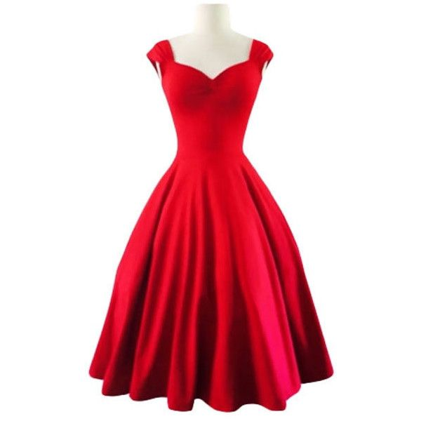Cupshe Empire Sweetheart Neckline Swing Dress ❤ liked on Polyvore featuring dresses, holiday party dresses, red sweetheart neckline dress, slimming dresses, red dress and red going out dresses