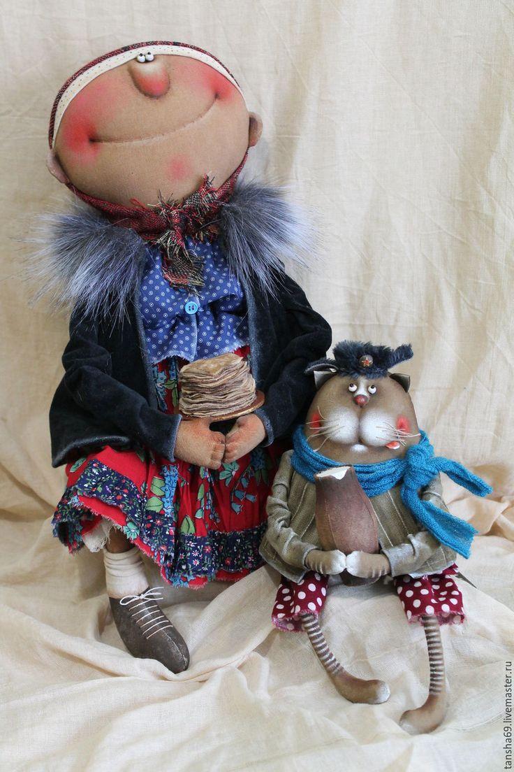 Купить Блиночки мои!!! - комбинированный, текстильная кукла, ароматизированная кукла, интерьерная кукла, Масленица, котик