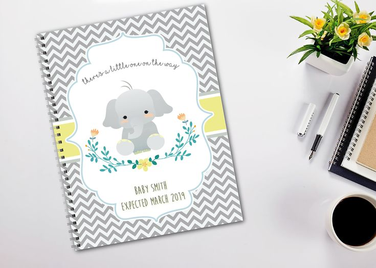 Personalized pregnancy diary with planned pages – elephant, gray, yellow, stripes, f …   – Pregnancy Journals Personalized