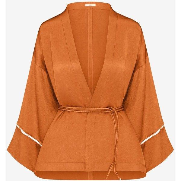LIQUID SATIN BEADED KIMONO TOP EDUN ($375) ❤ liked on Polyvore featuring tops, satin top, orange top, loose fitting tops, beaded kimono and kimono top