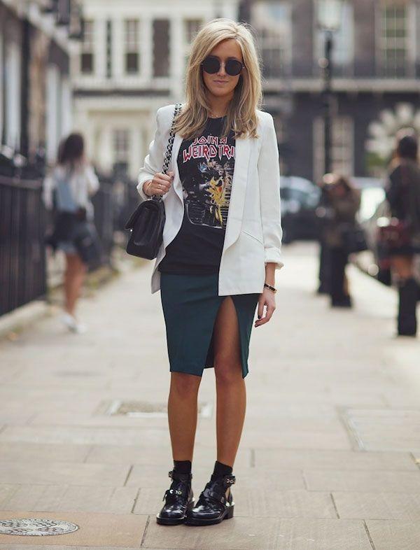 look saia lápis fenda t-shirt blazer
