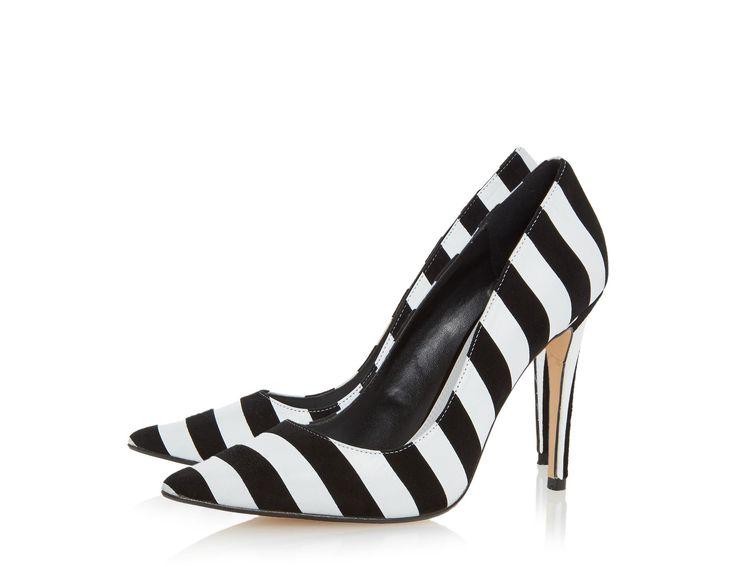 DUNE LADIES BELLISIMO - Monochrome Striped Court Shoe - black/white   Dune Shoes Online