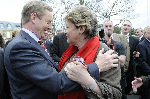 Fine Gael Leader Enda Kenny T.D. pictured greeting former Minister for Justice and Deputy Leader Nora Owen at a press conference given during the Party's 75 Ard Fheis held in Citywest, Dublin 2009