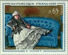 1962. Dipinti. Ritratto della Signora Manet su un divano azzurro di Édouard Manet (1874, pastello su carta marrone incollata su tela).
