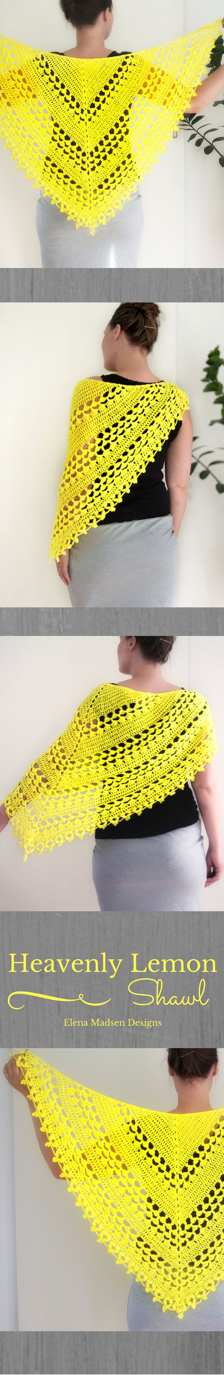 Crochet shawl pattern on Etsy/ Elena Madsen Designs. Easy to make. Lovely triangle shawl with the perfect lacy look. Includes photo - and videonstructions. Make in solid colors or long gradient yarn :-)