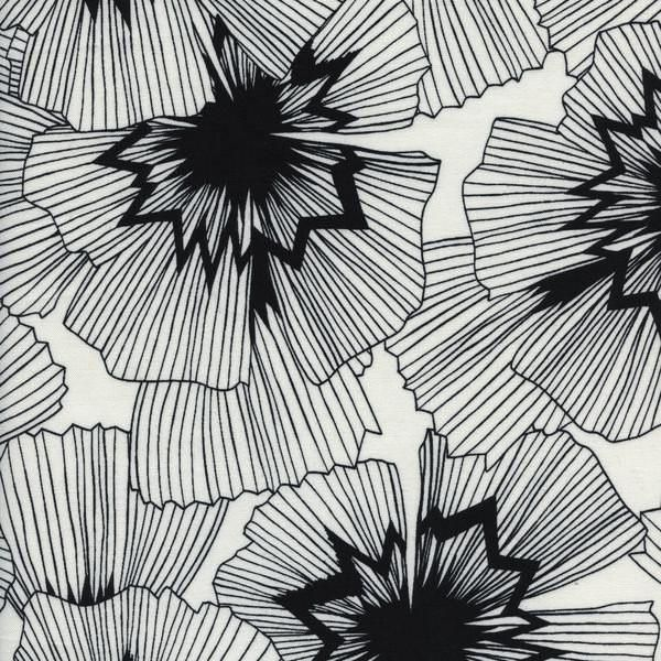 Cotton and Steel Fabric. Persephone in Natural and Black
