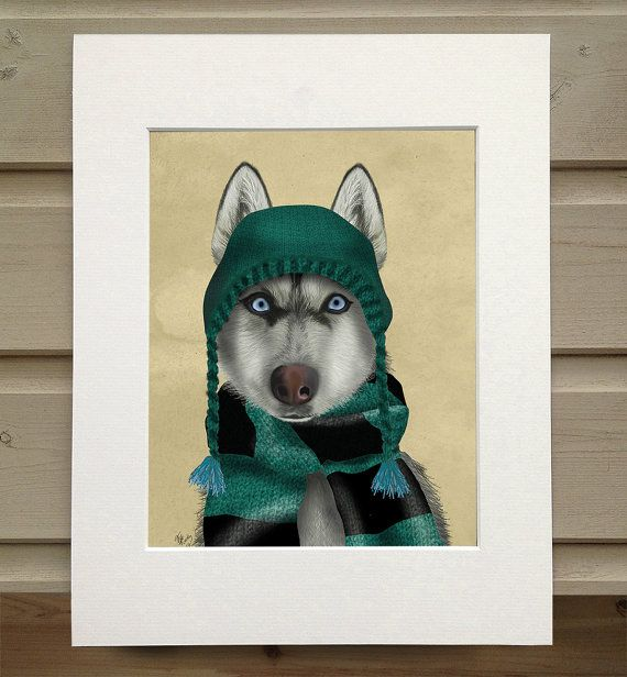 Husky in hat and scarf. Print from an original artwork by LoopyLolly / FabFunky  Print from an original artwork by LoopyLolly / FabFunky.  Printed on fine art paper and using high quality ink, LoopyLolly prints feature the illustrations of Kelly Stevens-McLaughlan, an established artist living by the sea on the south coast of England.  Kelly is a lover of the absurd and whimsical. Her work focuss mainly on animals and often involves them wearing silly hats or costumes, or doing extr...