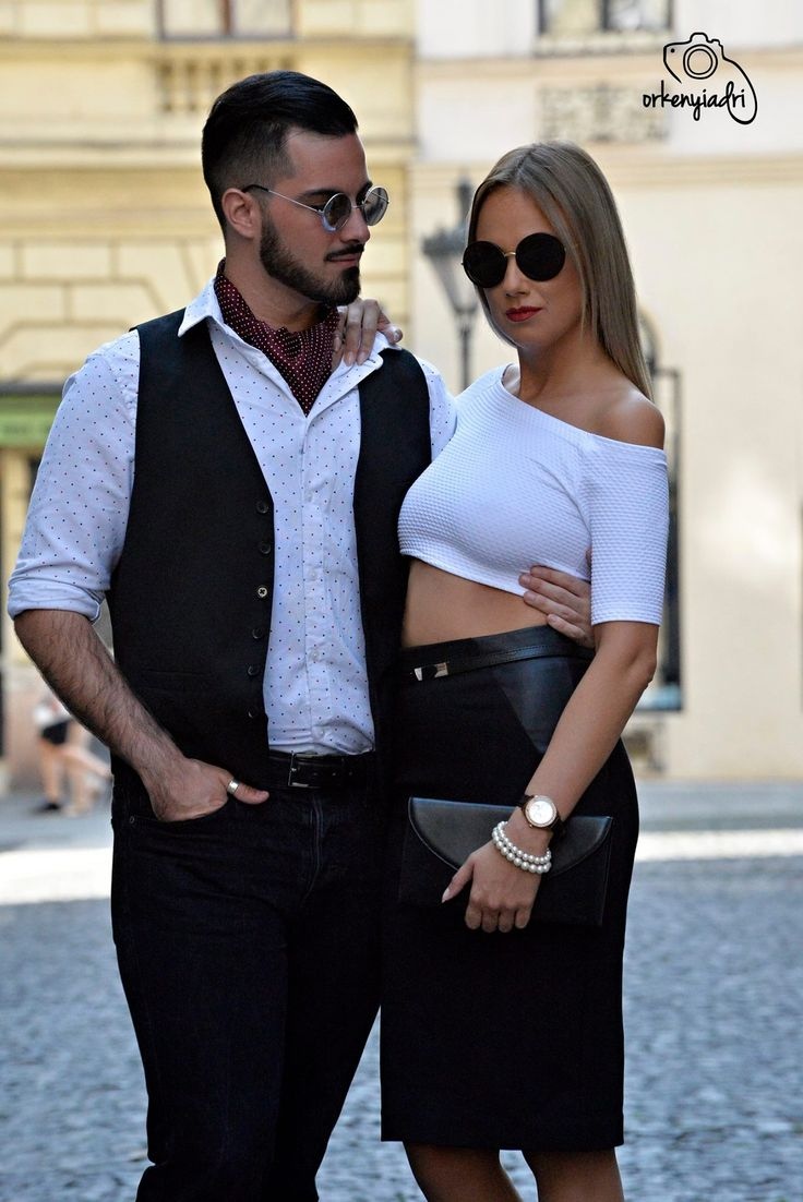 couple photography pair ootd outfit fashion glamour divat trend black white outside budapest girl boy woman men