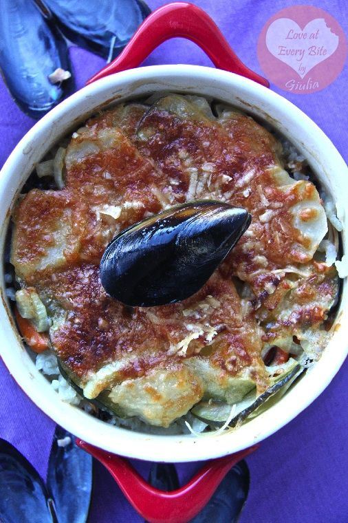 Italian Tiella- rice, potatoes and mussels!