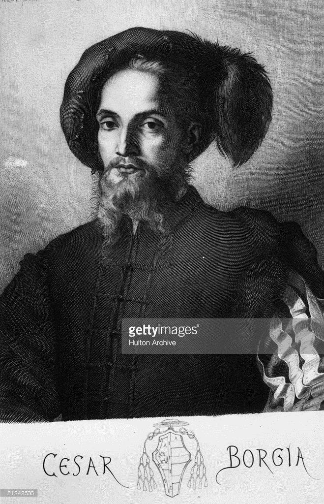 Circa 1503, Italian soldier and statesman, Cesare Borgia (1476 - 1507), the illegitimate son of Pope Alexander VI who was a basis for Machivelli's political hero in 'The Prince'. Original Artwork: Engraved from a painting by Raphael
