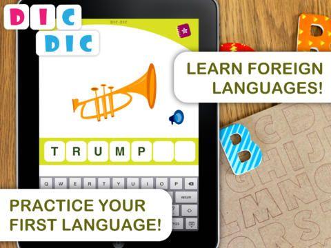Dic dic koster 19 kr. Den lærer dig at stave ord på bla. fransk, spansk og engelsk. Du kan slå ting fra, så den bliver svære.