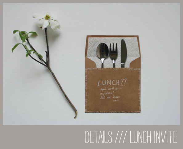 Make a date for lunch or dinner with this charming silverware invitation idea.  Invite them to your house for a cozy dinner or lunch or go out, your treat!