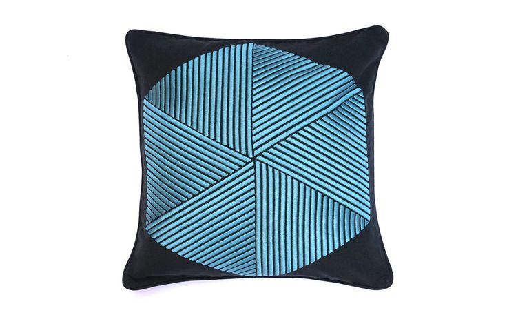 Hexagon embroidered cushion by Nazanin Kamali.