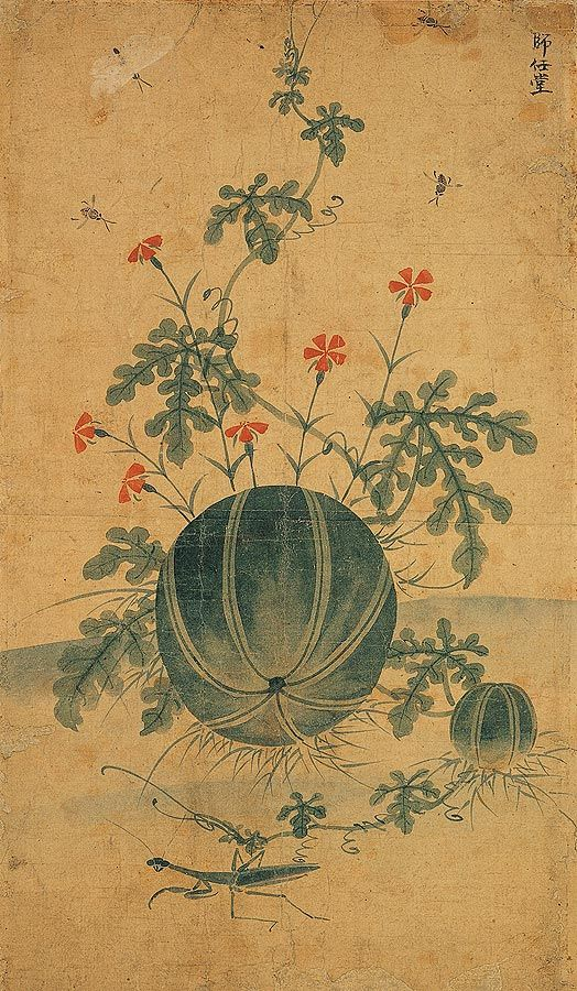 (Korea) 수박과 사마귀 by Shin Saimdang (1504 – 1551). 44.3×25.9cm. color on paper. Private collection.