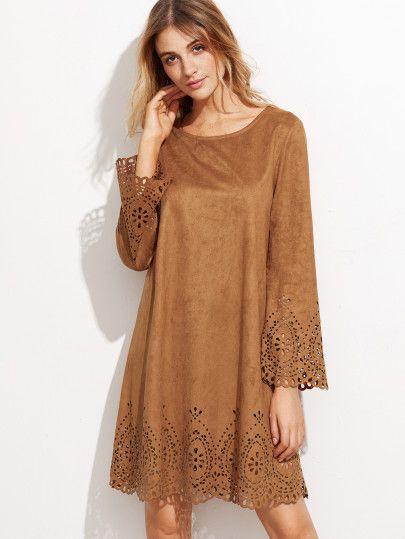 Robe en suédé avec dentelle floral - brun clair