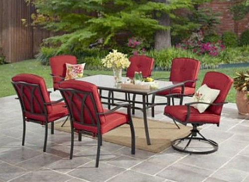 7Pc Outdoor Dining Set Garden Yard Glass Top Table & Swivel Chairs Red Cushions  #MainstaysDealsMarket
