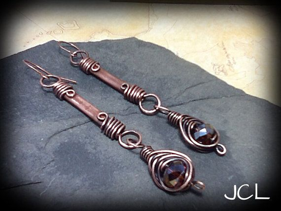 Copper stick earrIngs with brown topaz crystal by jclwire. Explore more products on http://jclwire.etsy.com