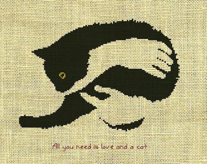 Animales gatos contados puntada patrón de la Cruz