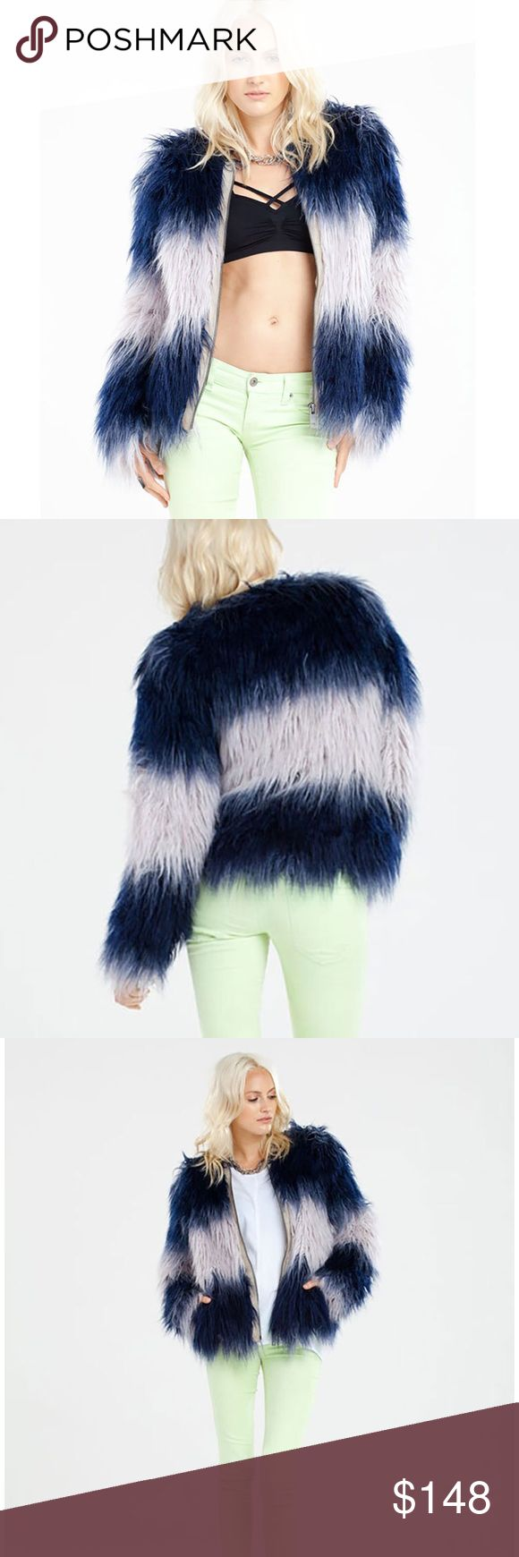 Nwt CHASER Brand Faux Fur Shag Coat Perfect for a concert, night out with friends, or anytime you want to kick up your ensemble a notch 💥 Luxe Faux Shag fur in a gorgeous blue ombré.   Brand new with tags.  Size small Chaser Jackets & Coats