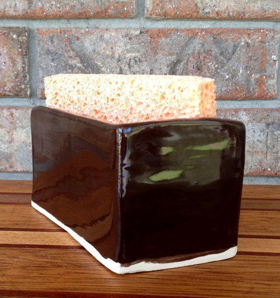 Handmade Brown University Football Bruno Bear Classic Ceramic Sponge, Business Card, Sugar Packet, Match or Q-Tip Holder