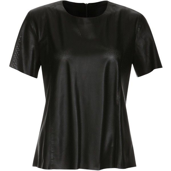 ELLESD - Perforated Leather T-shirt ($290) ❤ liked on Polyvore featuring tops, t-shirts, black tee, black leather t shirt, black top, zip top and leather t-shirt