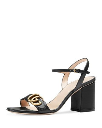 8e0d64182 Marmont Leather GG Block-Heel Sandal by Gucci at Bergdorf Goodman.