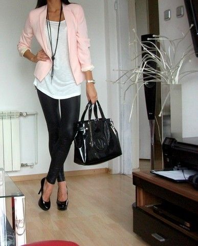 Not sure about the shiny/leather pants, but love the pink/white combo, and you can't go wrong with a blazer!