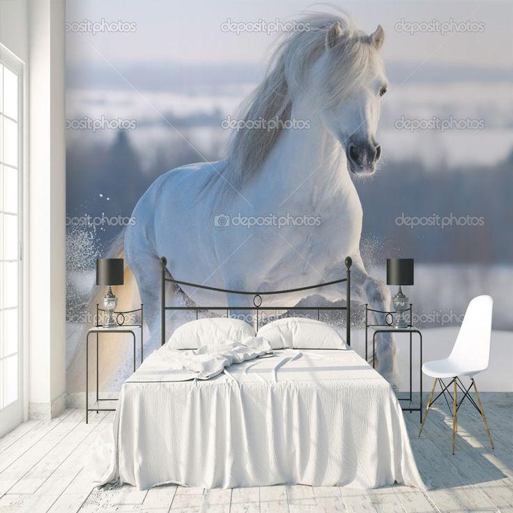 Fotobehang Paard in de sneeuw | Maak het jezelf eenvoudig en bestel fotobehang voorzien van een lijmlaag bij YouPri om zo gemakkelijk jouw woonruimte een nieuwe stijl te geven. Voor het behangen heb je alleen water nodig! #behang #fotobehang #print #opdruk #afbeelding #diy #behangen #paard #sneeuw #wit #meidenkamer #meisjeskamer #dier