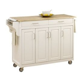 White Kitchen Cart on Wheels