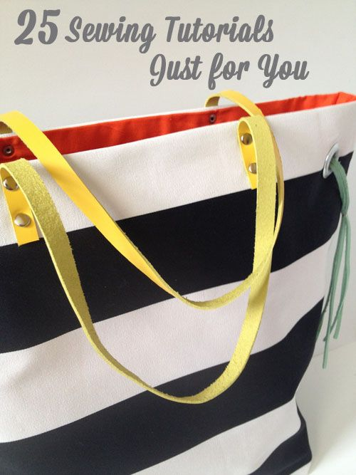 Back-to-School & Back-to-You: 25 Sewing Tutorials Just for You: 25 Sewing, Sewing Projects, Totes Tutorials, Bags Patterns, Totes Bags, Colors Totes, Tote Bags, Sewing Tutorials, Sewing Patterns