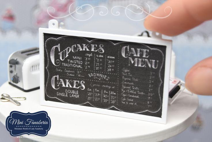 Miniature hanging wall chalkboard menu