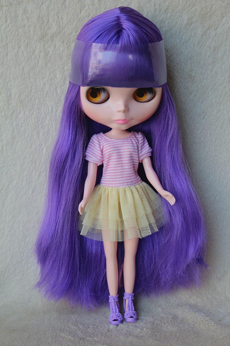 Blygirl Блит кукла Фиолетовый челка прямые волосы обнаженная кукла № 3502 обычный тела 7 суставов DIY куклы для собственного макияж купить на AliExpress