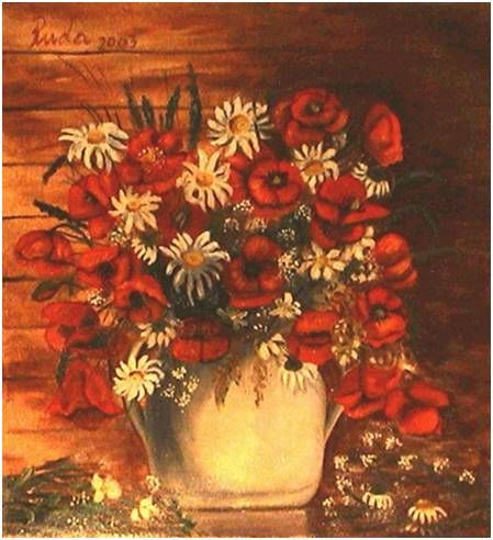 field flowers - oil painting canvas