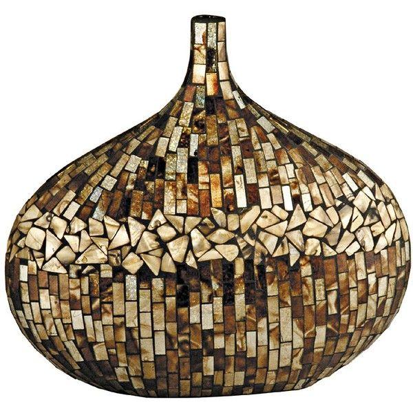 dale tiffany amber shell oval mosaic art glass vase x5072 79