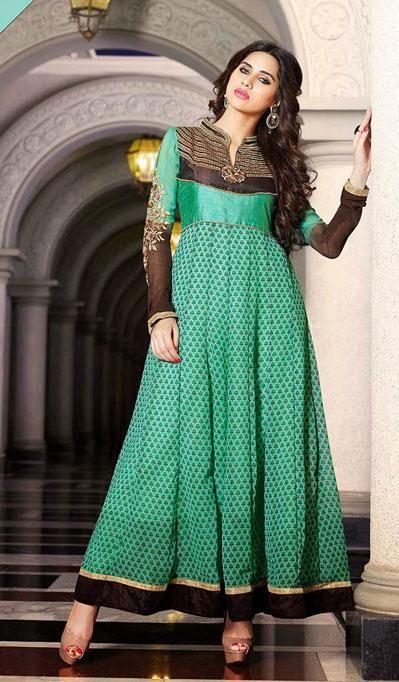 USD 70.08 Green Faux Georgette Ankle Length Anarkali Suit 37067