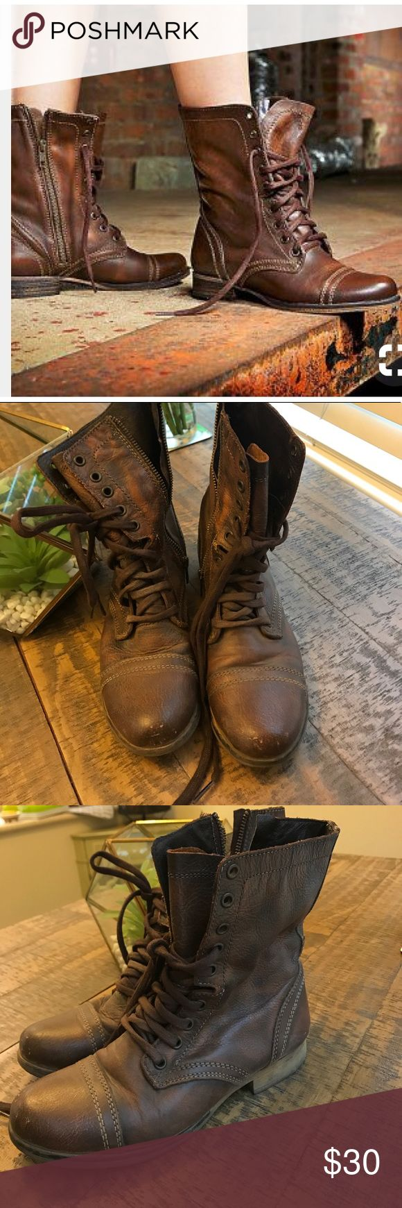 Final Sale🎉🎉Steven Madden Troopa Combat Boots🍂 Final Sale 🍁🌾Leather Troppa Comabt boots by Steve Madden. Worn slightly see photos. Perfect for fall and winter. Please ask questions. No tags or trades. All sales final. Steve Madden Shoes Combat & Moto Boots