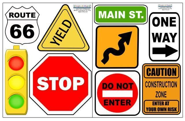Road Signs Wall Decals Boys Street Wall Stickers Wall Signs