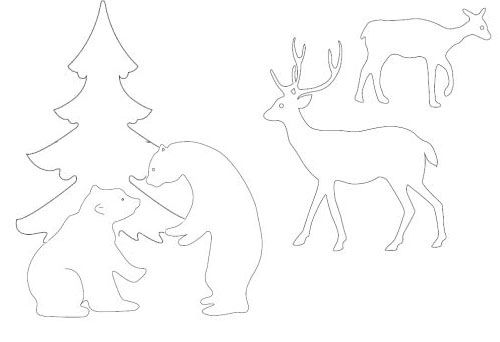 Pine Trees and animals.  трафарет для деревянного рождественского украшения